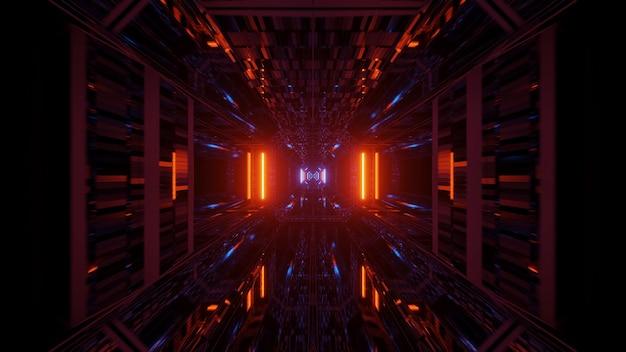Corredor de túnel futurista com luzes brilhantes de néon e papel de parede de fundo com renderização 3d Foto gratuita