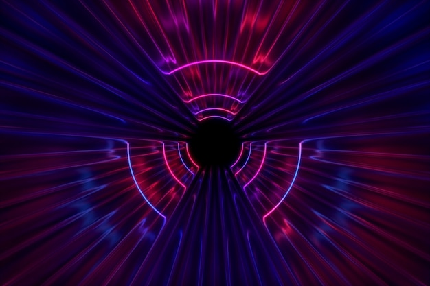 Corredor fantástico sob ilustração 3d luzes de néon Foto Premium