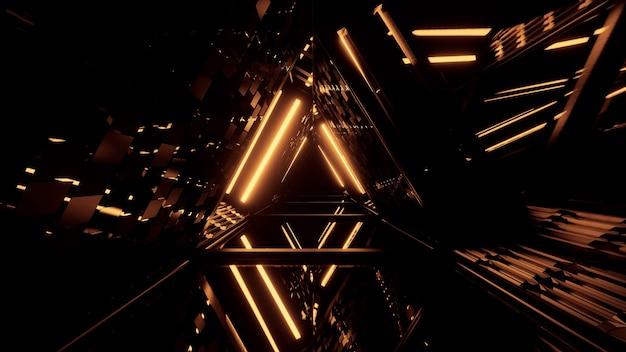 Corredor futurista de formato triangular com luzes douradas brilhantes Foto gratuita