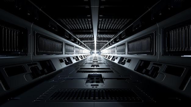 Corredores da nave espacial e luz no destino Foto Premium