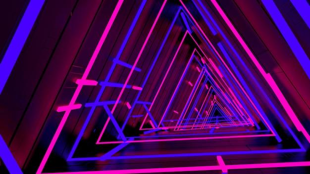 Correndo em neon light triangle tunnel papel de parede na cena da festa retro e moda. Foto Premium
