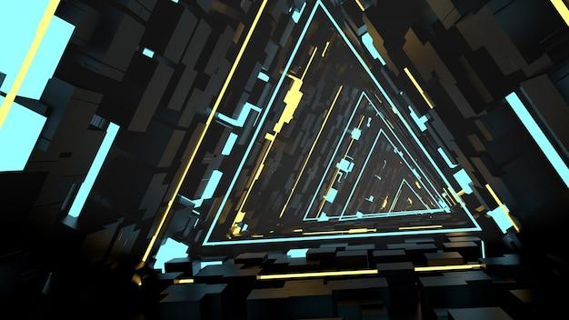 Correndo em triângulos equivalentes papel de parede do túnel na cena da festa retrô e sci fi. Foto Premium