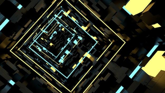 Correndo no papel de parede do túnel da luz da caixa na cena retro e do sci fi do partido. Foto Premium