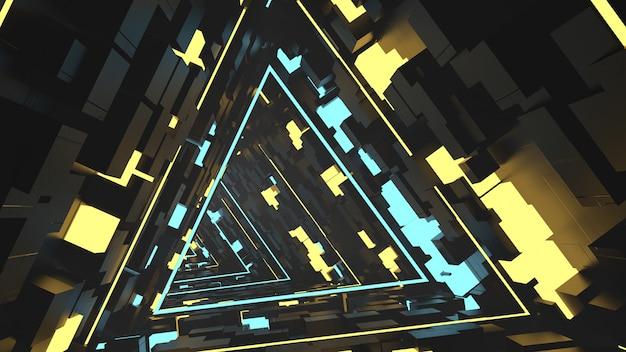 Correndo no túnel de triângulos equilaterais em retrô e ficção científica Foto Premium