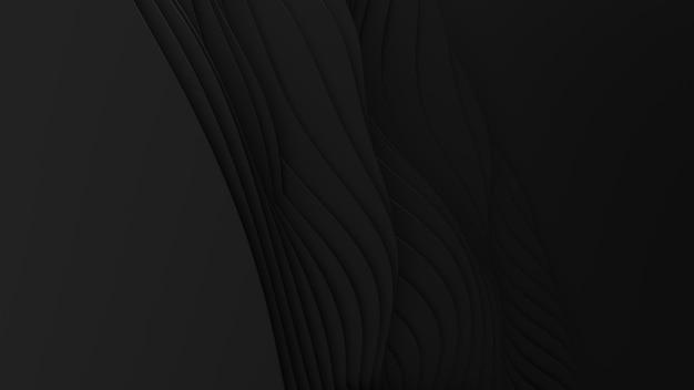 Corte de papel abstrato. 3d arte escultura escura limpa. ondas pretas de artesanato de papel. design moderno minimalista para apresentações de negócios. Foto gratuita