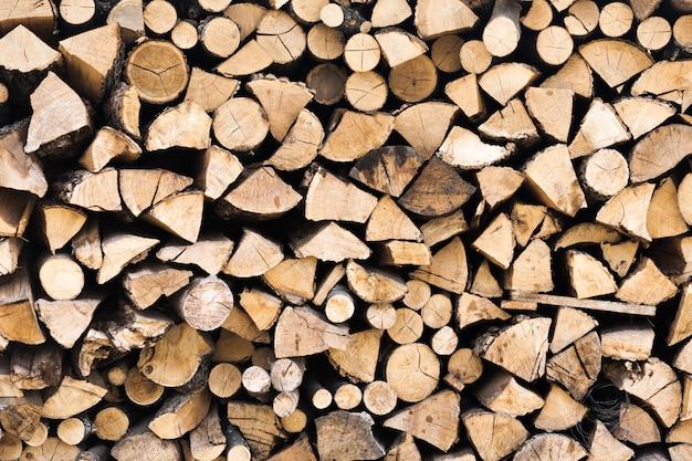 Corte de toras de madeira e textura empilhada Foto gratuita
