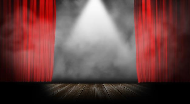 Cortina de palco vermelho com fundo de fumo Foto Premium