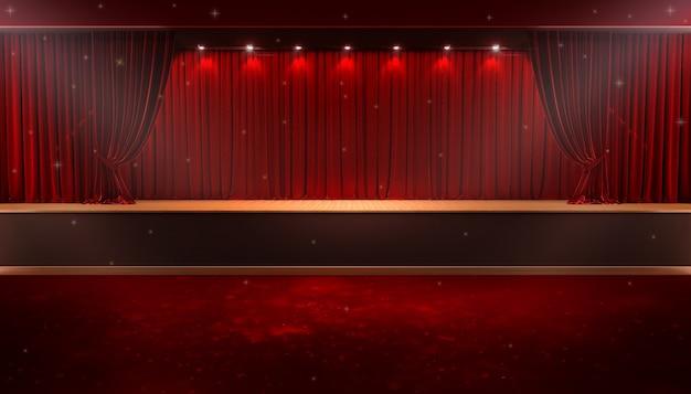 Cortina vermelha e um holofote. cartaz do show da noite do festival Foto Premium