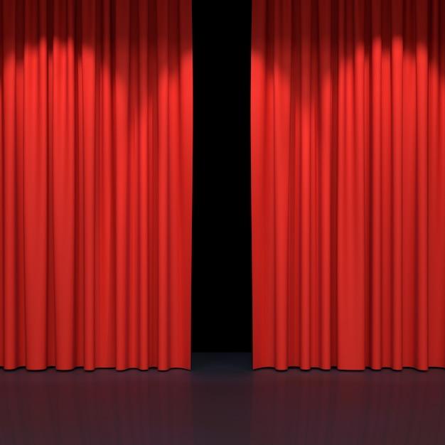 Cortinas de palco vermelho Foto Premium