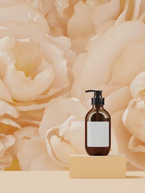 Cosmético para apresentação de marca e embalagem. pódio de cor bege em flores de peônia. ilustração de renderização 3d. Foto Premium
