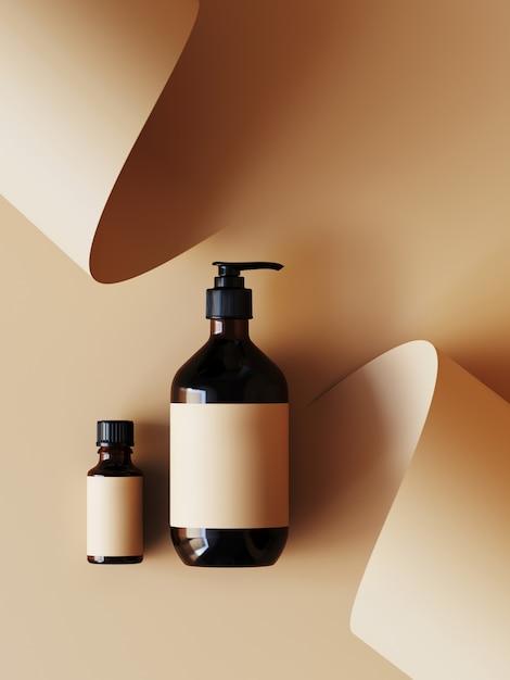 Cosmético para apresentação do produto. frasco cosmético em rolo de papel de cor bege. ilustração de renderização 3d. Foto Premium