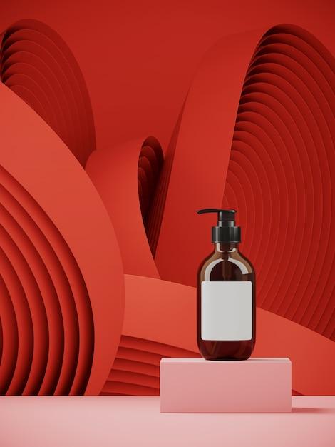 Cosmético para apresentação do produto. pódio rosa no padrão de geometria circular de cor vermelha. ilustração de renderização 3d. Foto Premium
