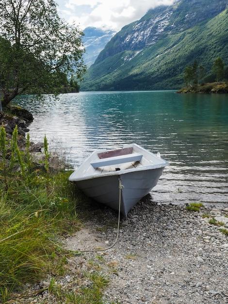 Costa norueguesa norte lago lovatnet com água verde azul Foto Premium