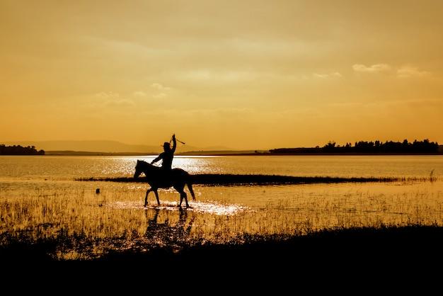 Cowboy de silhueta a cavalo Foto Premium