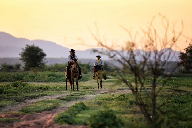 Cowboy montando cavalos no campo contra o pôr do sol Foto Premium