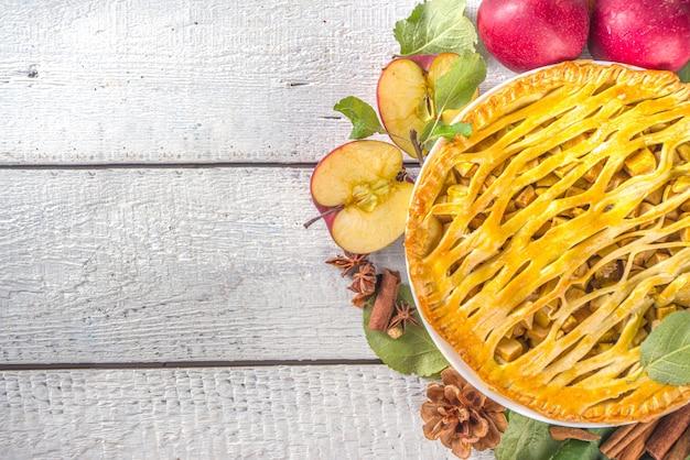 Cozimento tradicional de outono. bolos de outono-inverno tradicionais americanos e europeus - com abóbora, noz-pecã e maçã Foto Premium