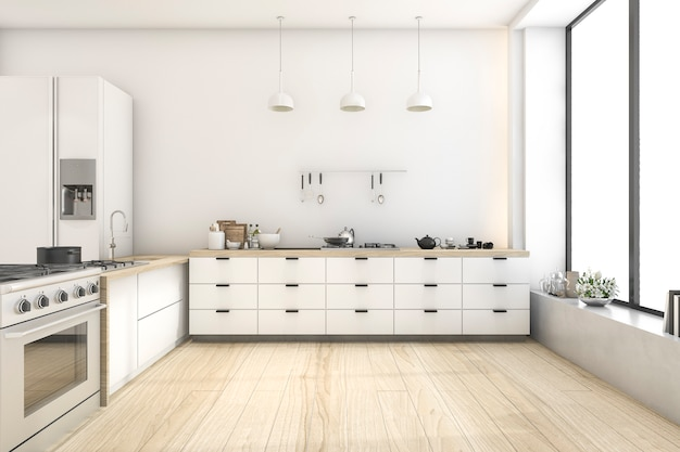 Cozinha de estilo escandinavo branco de renderização 3d com lâmpada Foto Premium