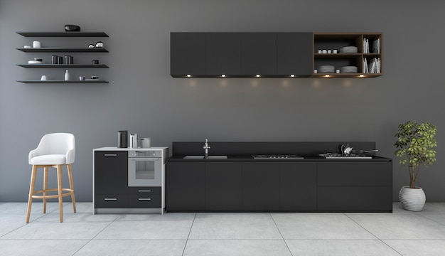 Cozinha de preto de renderização 3d com quarto de design minimalista Foto Premium
