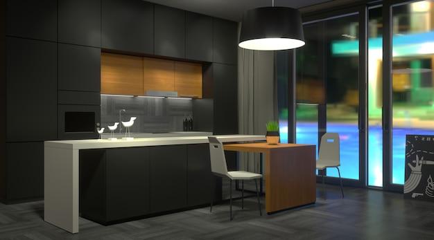 Cozinha escura moderna com janela Foto Premium