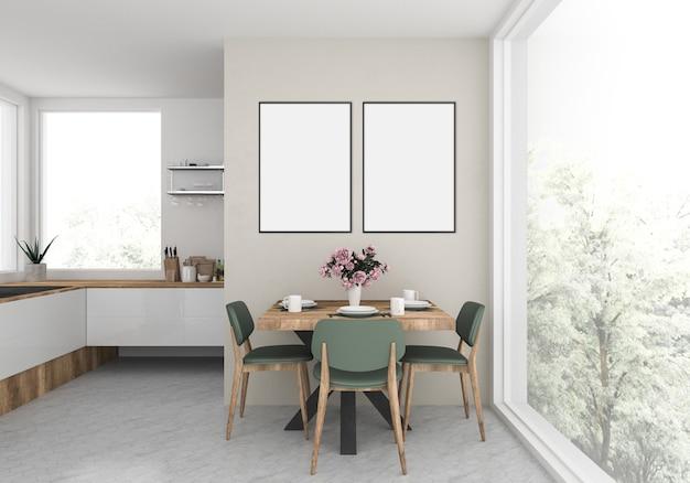 Cozinha moderna com quadros vazios doble Foto Premium