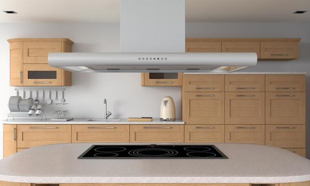 Cozinha moderna e fogão elétrico de indução na mesa para maquete Foto Premium