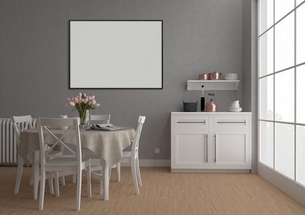 Cozinha vintage com moldura horizontal, fundo de obras de arte, maquete interior Foto Premium