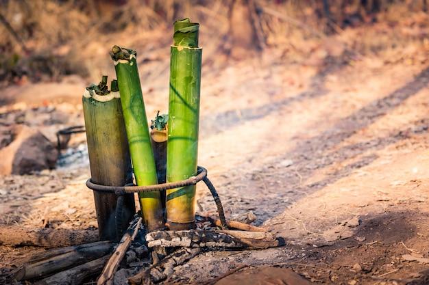 Cozinhar comida em tubo de bambu na floresta de campismo Foto Premium