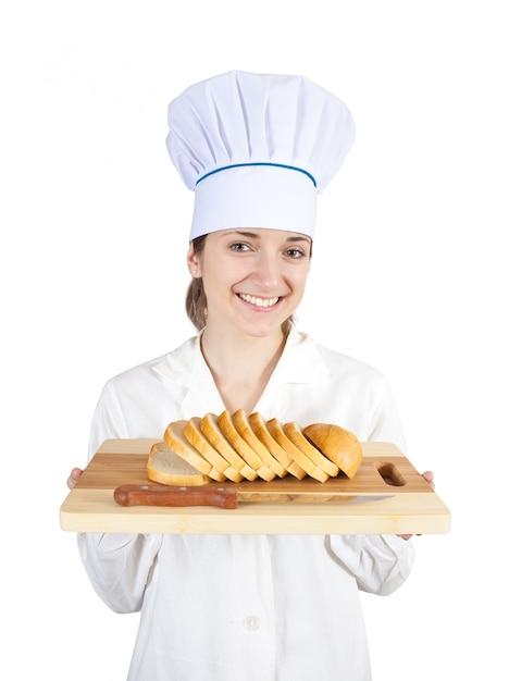Cozinhe com fatias de pão Foto gratuita