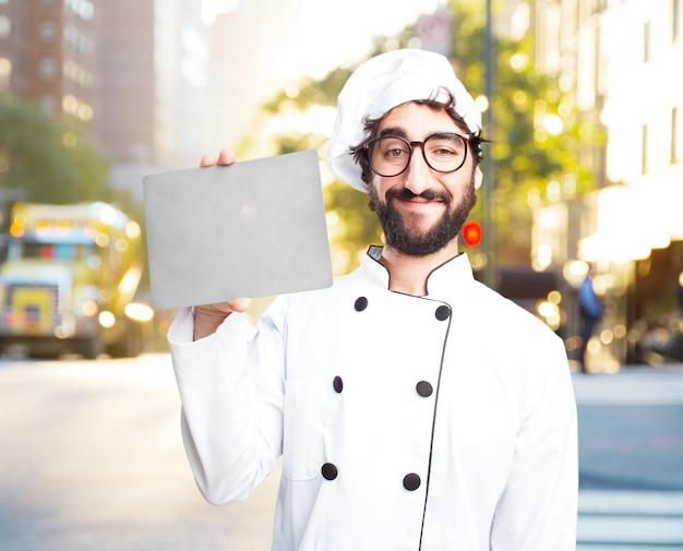 Cozinheiro chefe louco expressão feliz Foto gratuita