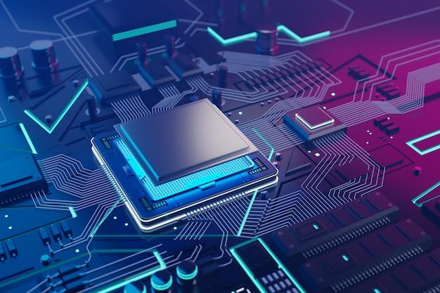Cpu e fundo do chip de computador Foto Premium