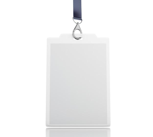 Crachá de identificação 3d em branco branco com cordão Foto Premium