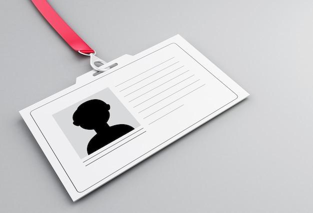 Crachá de identificação de plástico branco 3d com cordão Foto Premium