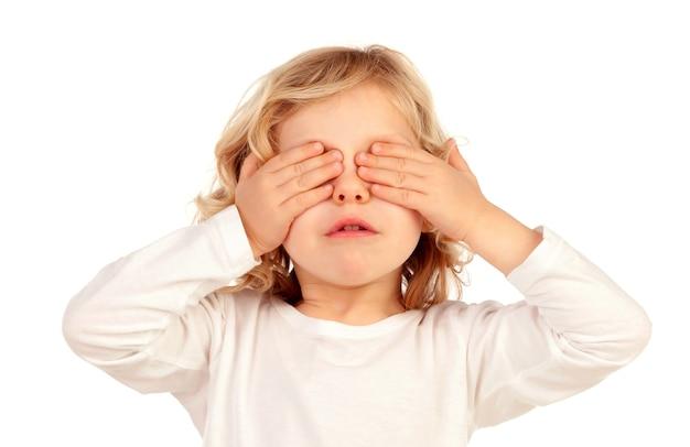 Criança, cobertura, seu, olhos Foto Premium