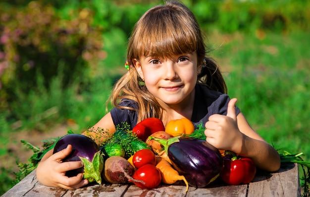 Criança e vegetais na fazenda. foco seletivo. Foto Premium