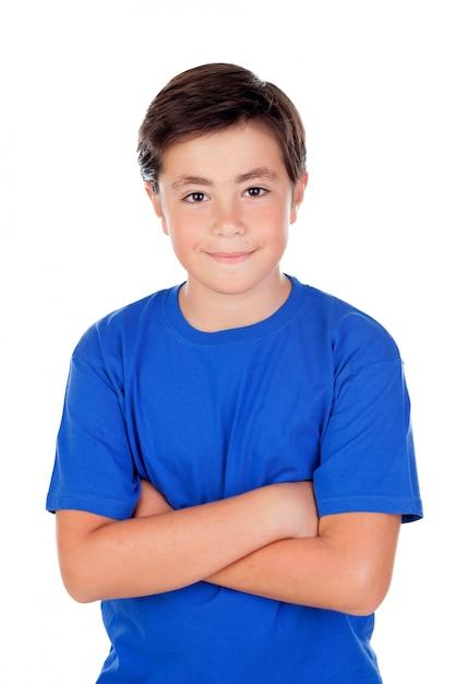 Criança engraçada com dez anos de idade e t-shirt Foto Premium