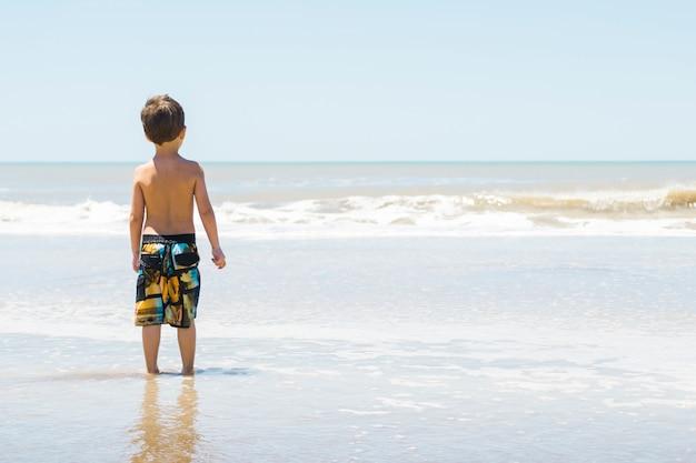 Criança, ligado, seacoast, em, água Foto gratuita