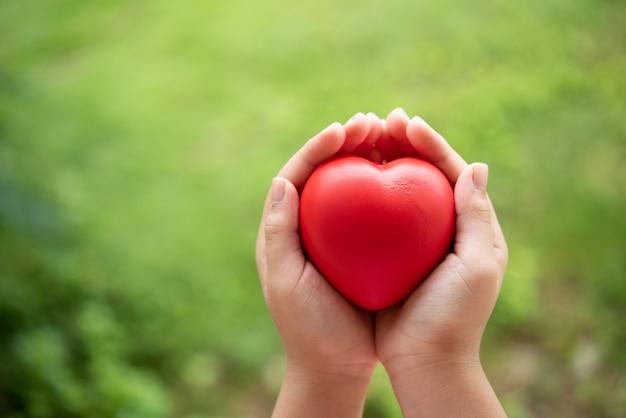 Criança segurando coração de borracha vermelho Foto gratuita