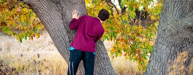 Crianças brincando de esconde-esconde no parque. escondendo atrás da árvore Foto Premium