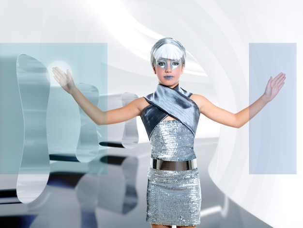 Crianças futuristas menina toque dedo copyspace tela Foto Premium