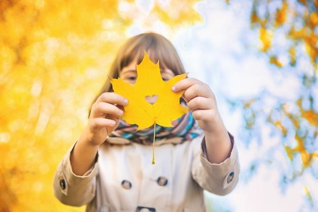 Crianças no parque com folhas de outono. foco seletivo. Foto Premium