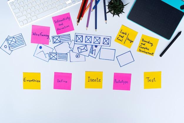Criativa plana leigos foto de vista superior do espaço de trabalho designer ux e material de escritório Foto Premium
