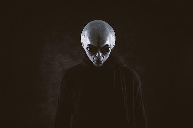 Criatura alienígena tem uma mensagem para os seres humanos. humanóide amável cinzento de uma outra série do retrato do planeta. Foto Premium