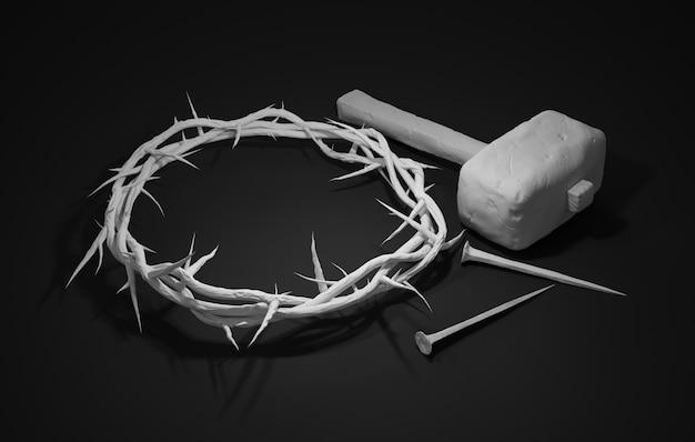 Crucificação de jesus cristo - cruz com martelo de unhas e coroa de espinhos 3d rendering dark background Foto Premium