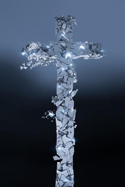 Cruz de pedra cristã que se quebra em muitos pedaços, brilha e fundo escuro Foto Premium