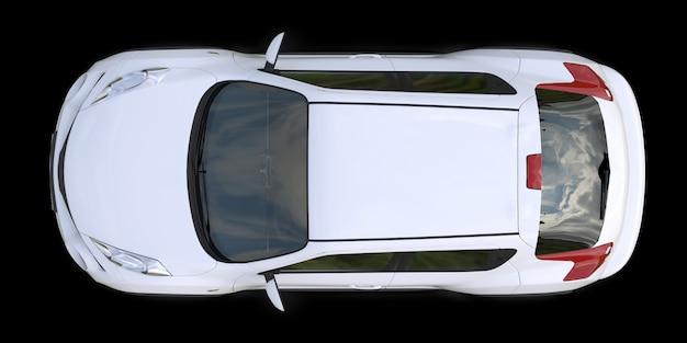 Cruzamento subcompacto branco suv em fundo preto. renderização em 3d. Foto Premium
