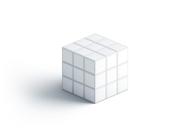 Cubo de rubics branco em branco simulado acima, isolado Foto Premium