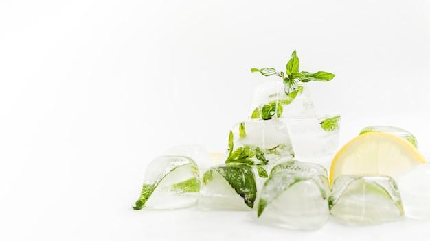 Cubos de gelo com hortelã e fatia de limão Foto gratuita