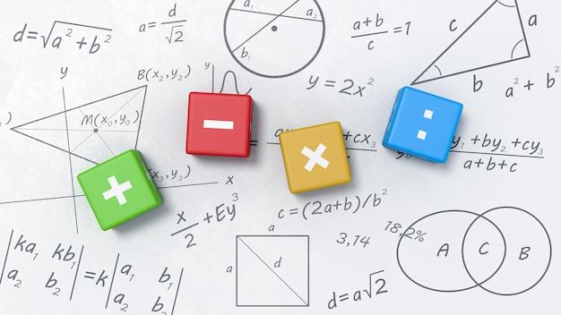 Cubos de operadores matemáticos no quadro branco com fórmulas, gráficos e símbolos Foto Premium