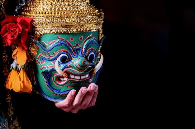 Cultura arte, tailandia, dançar, em, mascarado, khon, em, literatura, ramayana Foto Premium