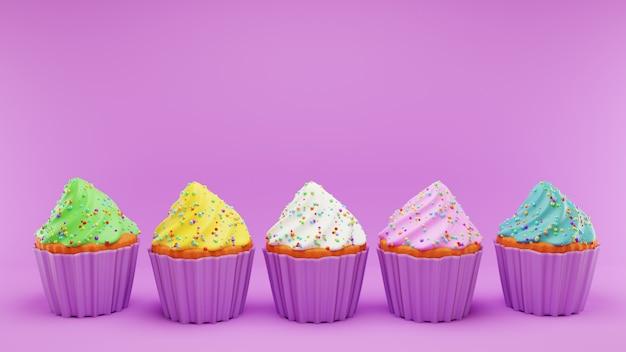 Cupcakes com cobertura de creme chantilly de cor diferente em rosa Foto Premium